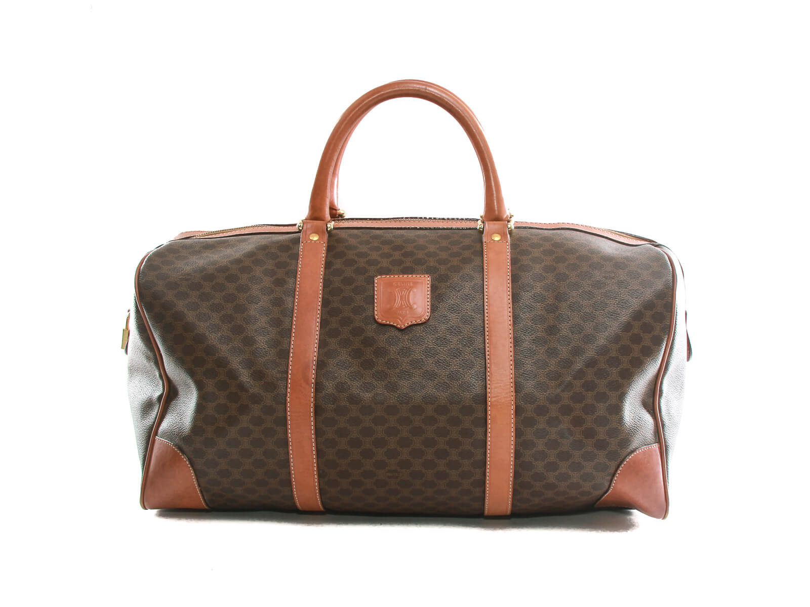 Authentic Celine Brown leather Boston travel hand bag