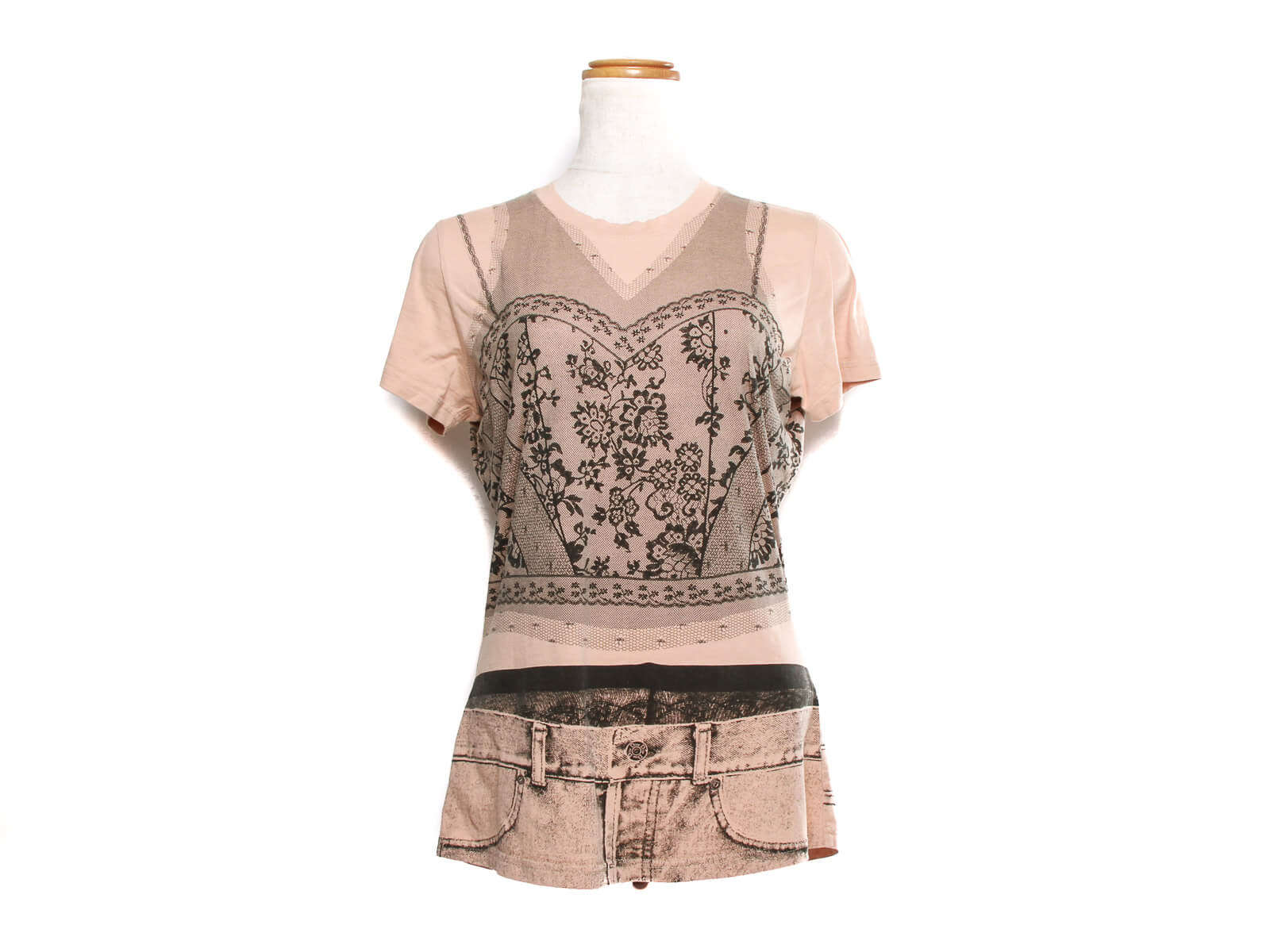 Authentic Christian Dior peach lace print Women's V-Neck T-Shirt