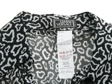 Authentic Gianni Versace Couture White and Black Dalmatian Print Silk Shirt