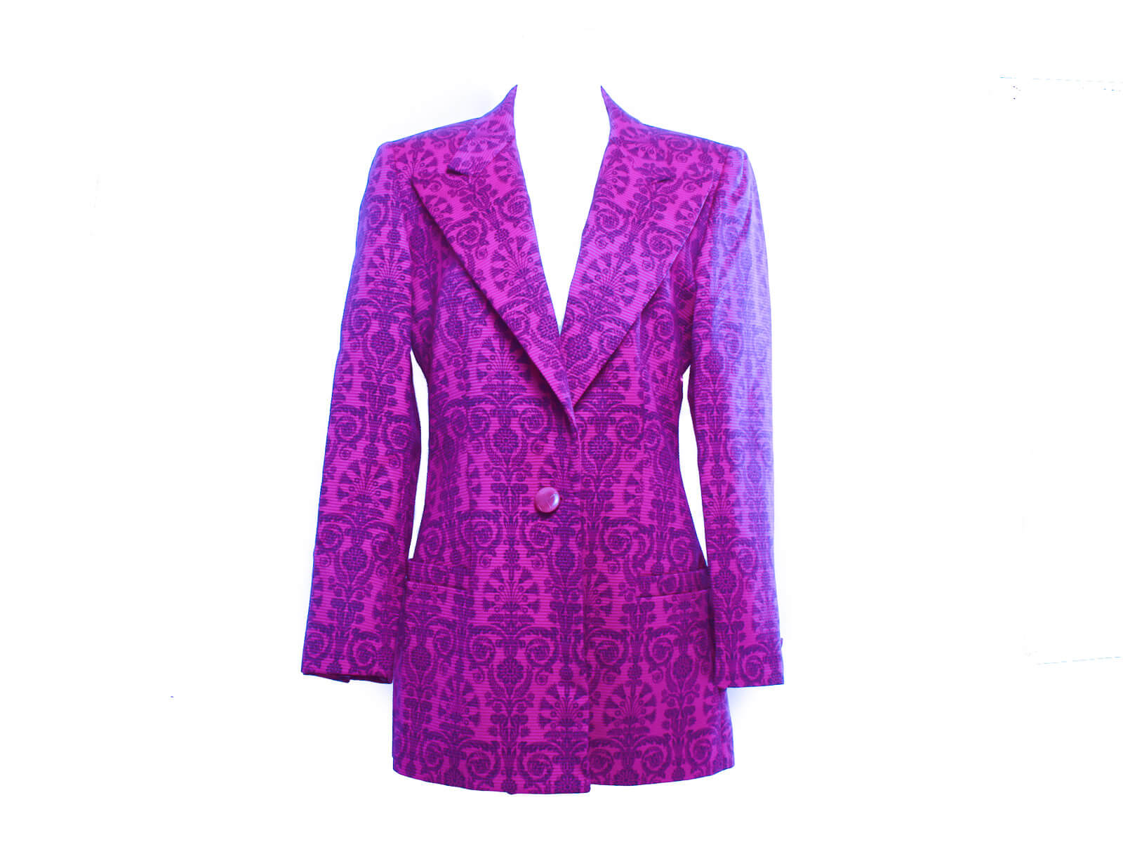 Authentic Istante Italy Purple Jaquard wool jacket Versace