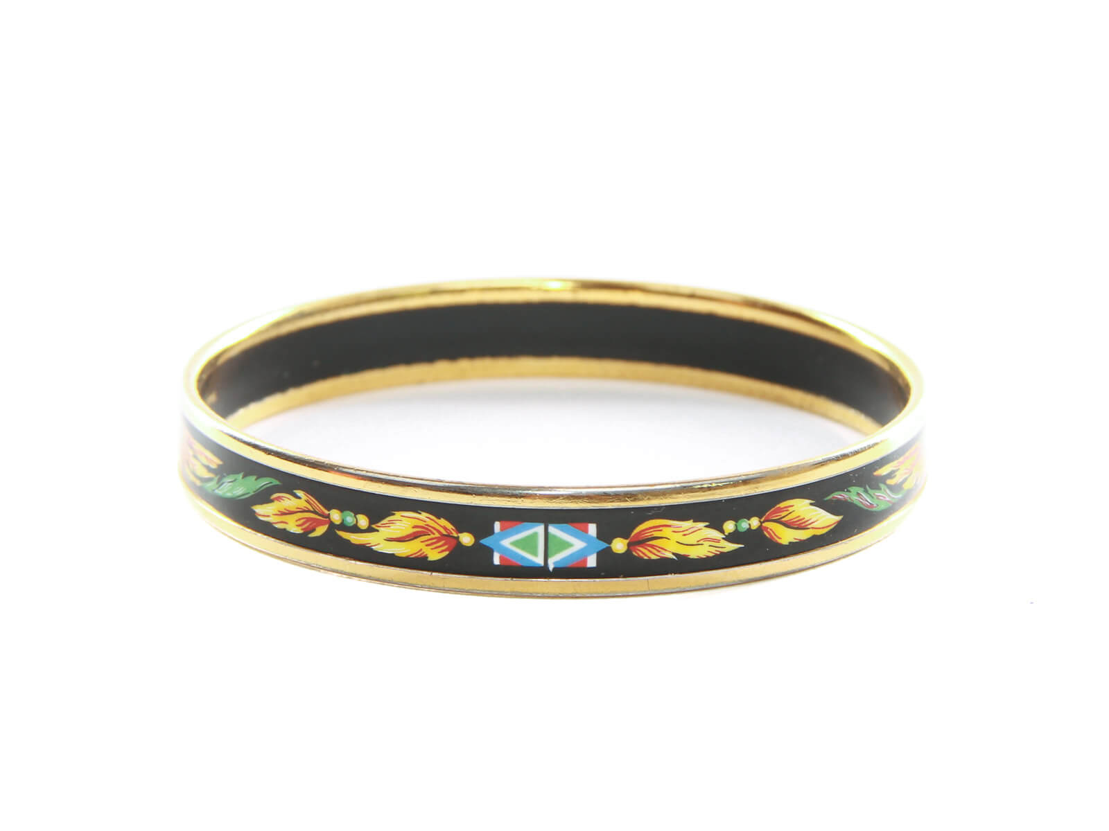 Authentic Hermes Red Yellow Feather Gold Rimmed Black Enamel Bangle