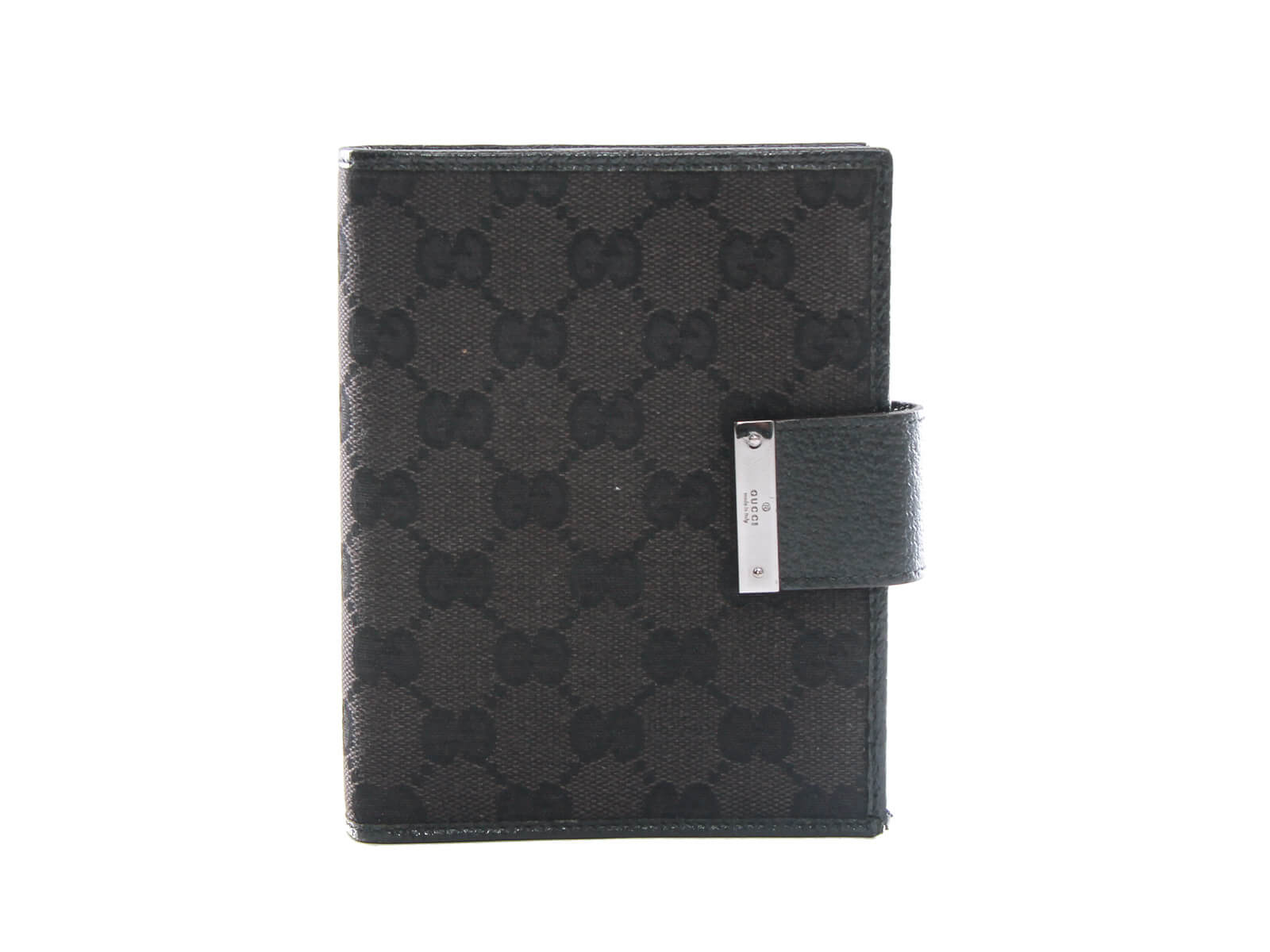 1b9e170604e44 Authentic Gucci Web Black GG Logos Pattern Agenda Notebook Cover. Tap to  expand