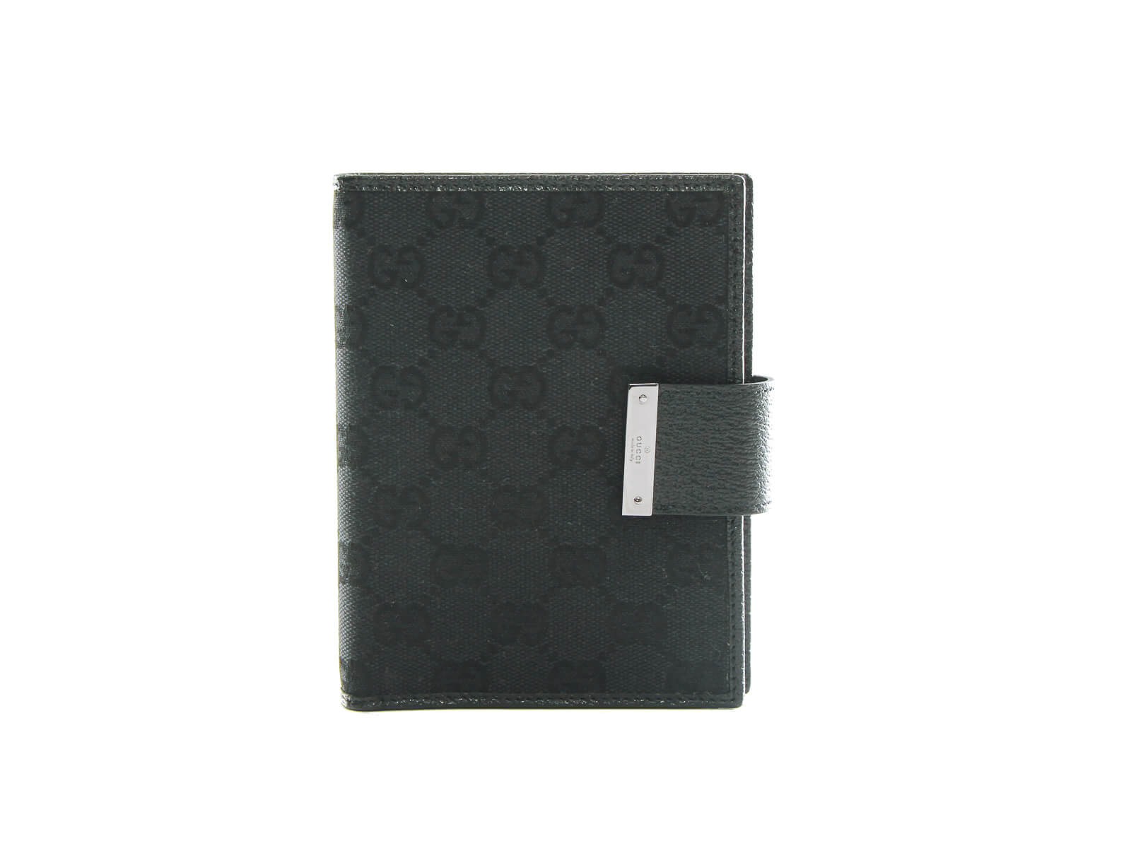 Authentic Gucci Web Black GG Logos Pattern Agenda Notebook Cover