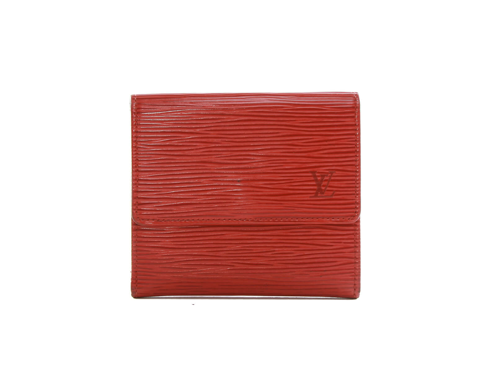 Authentic louis vuitton porte-monnaie billets cartes credit Red Epi wallet