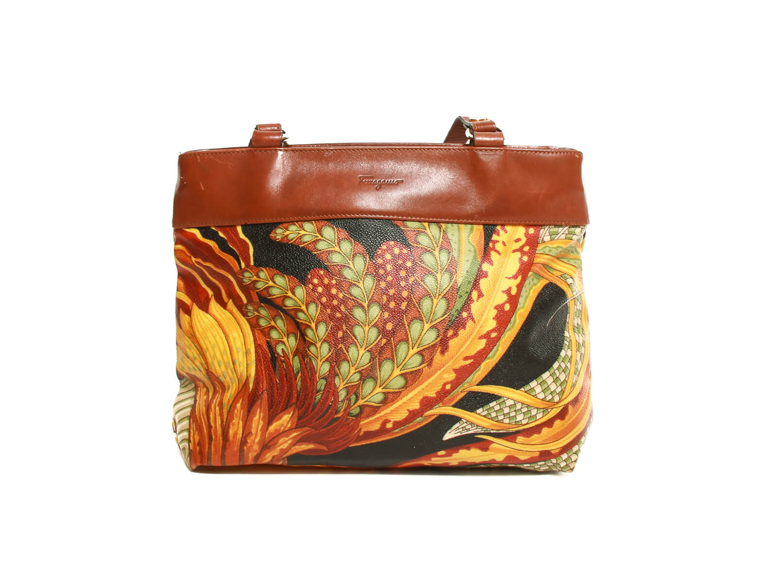 Authentic Salvatore Ferragamo Botanical pattern shoulder bag