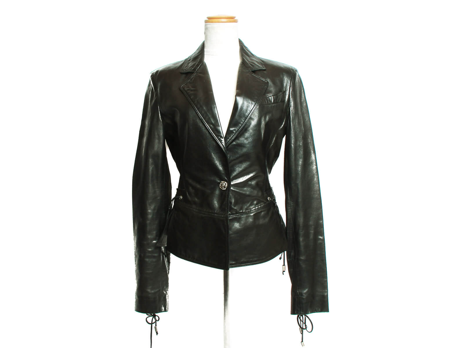 Authentic Versace Black leather Jacket/Blazer