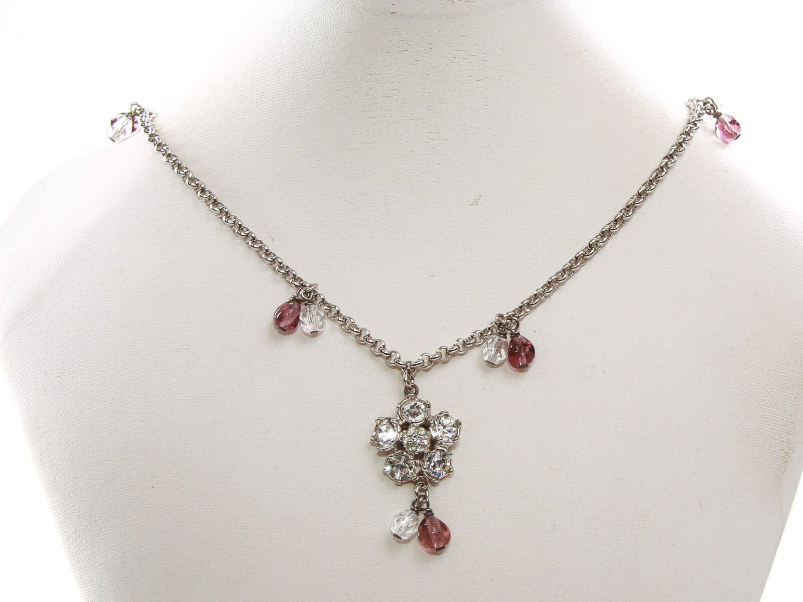 Authentic Salvatore Ferragamo silver chain crystal flower pendant necklace