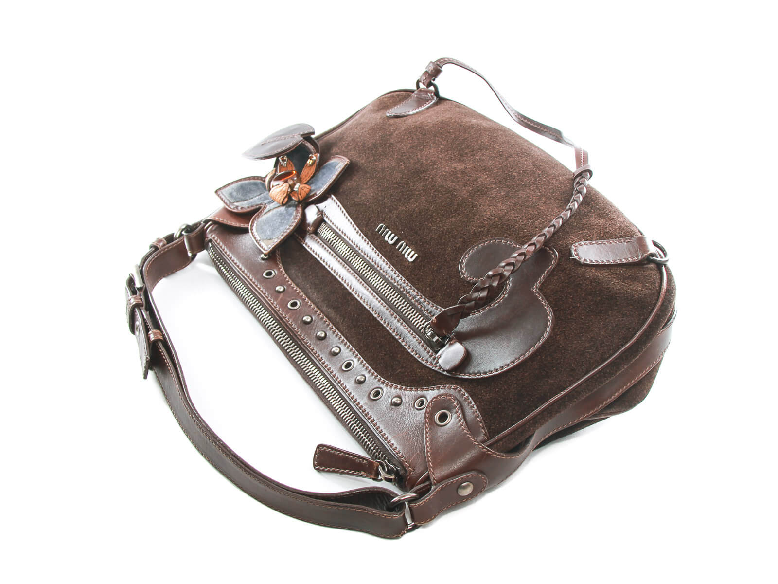5bad9a446b95 ... Authentic MIU MIU brown suede leather small shoulder bag ...