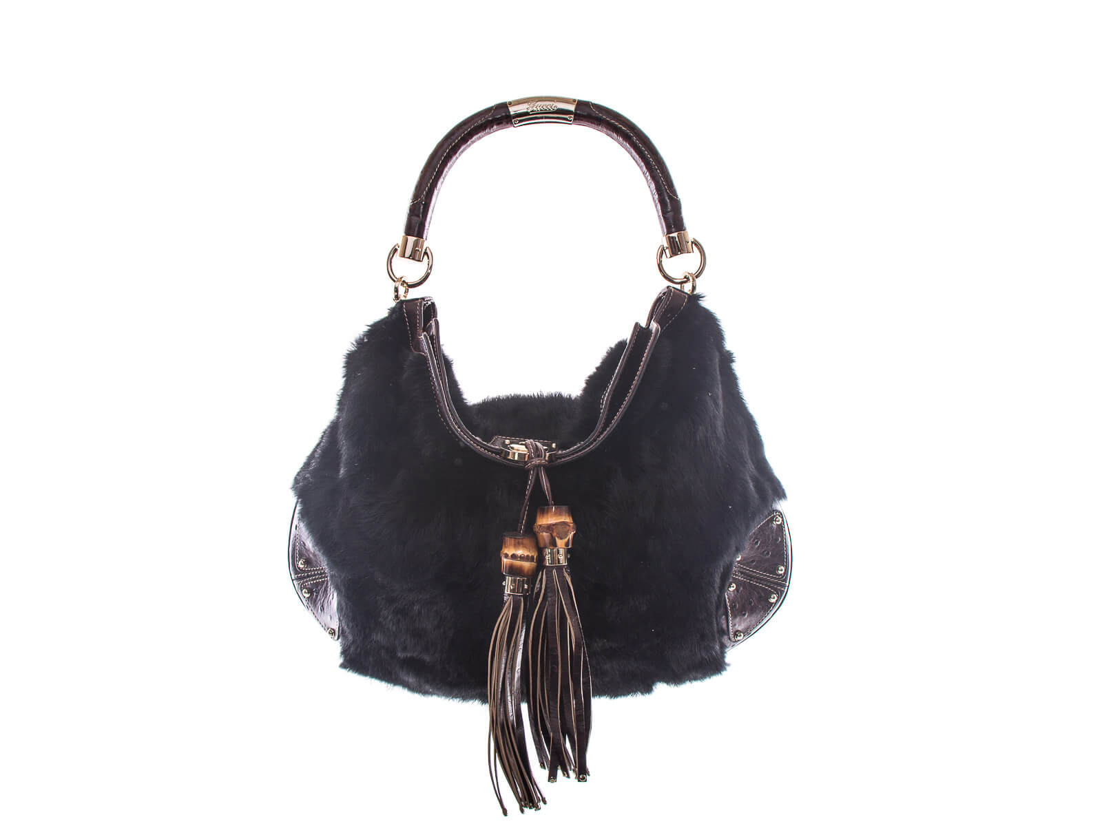 Authentic Gucci Black Fur Brown ostrich leather Indy Hobo bag