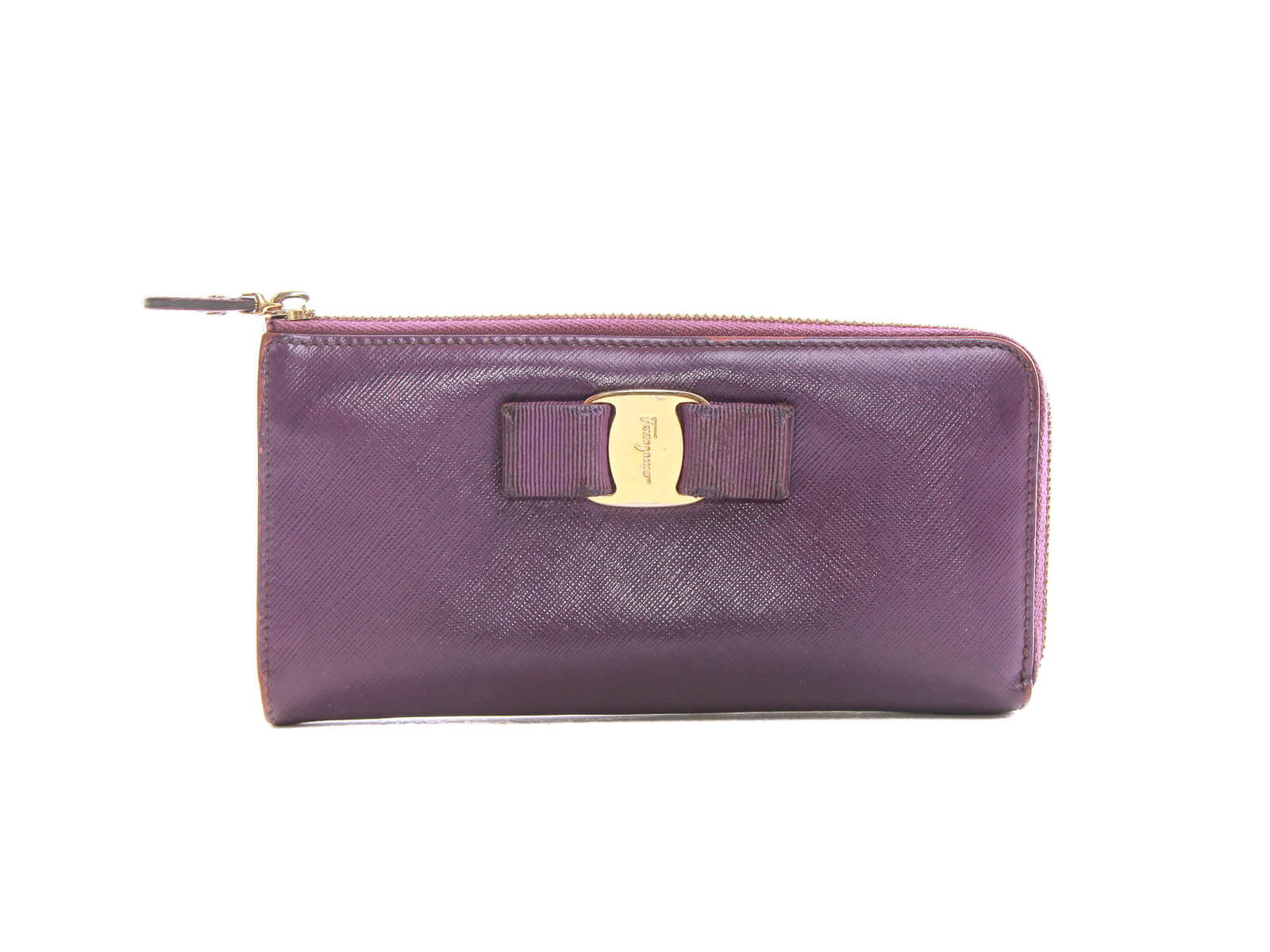 Authentic Salvatore Ferragamo purple Zip-around long wallet