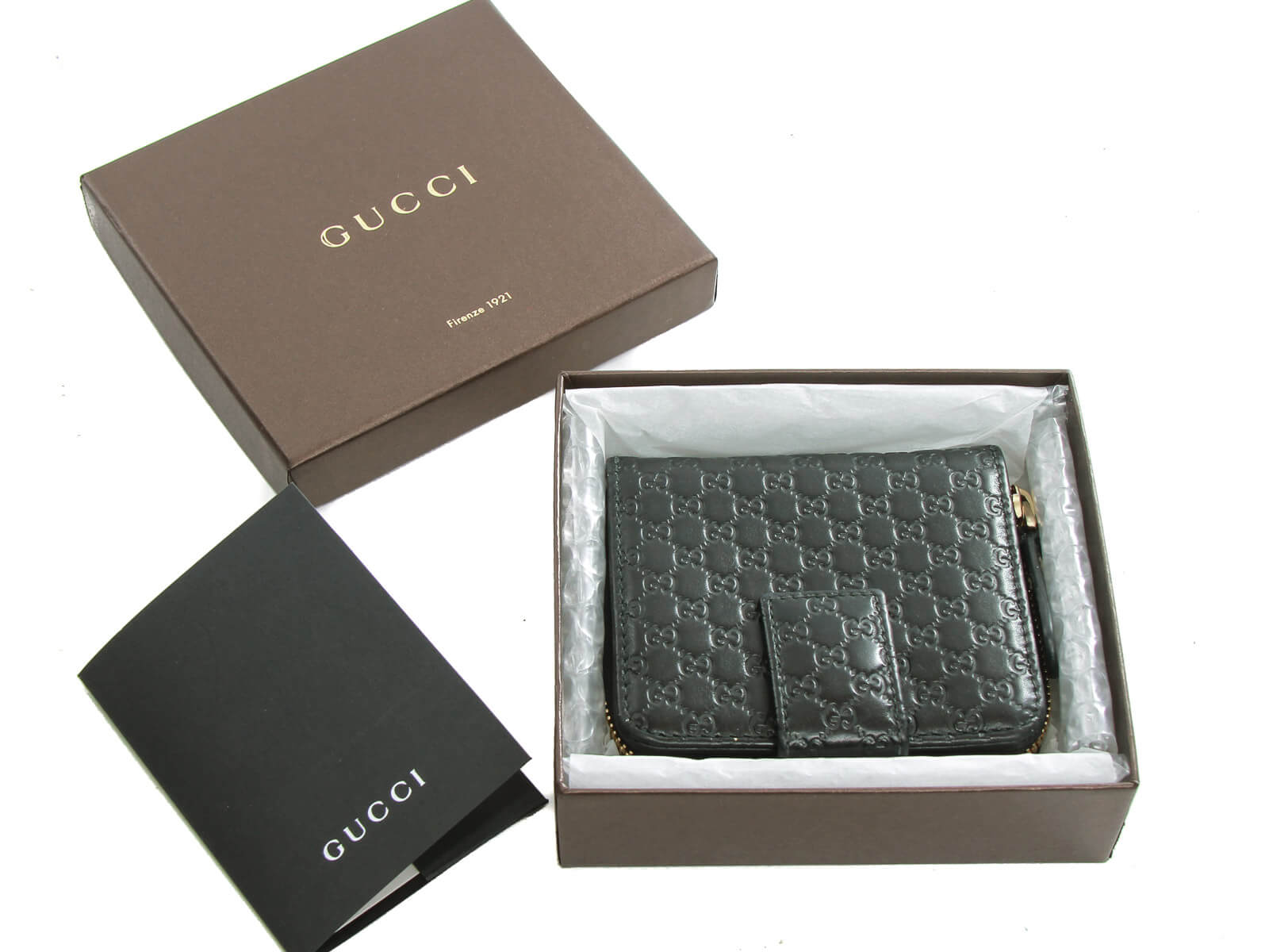 Authentic Gucci Black Micro GG leather wallet