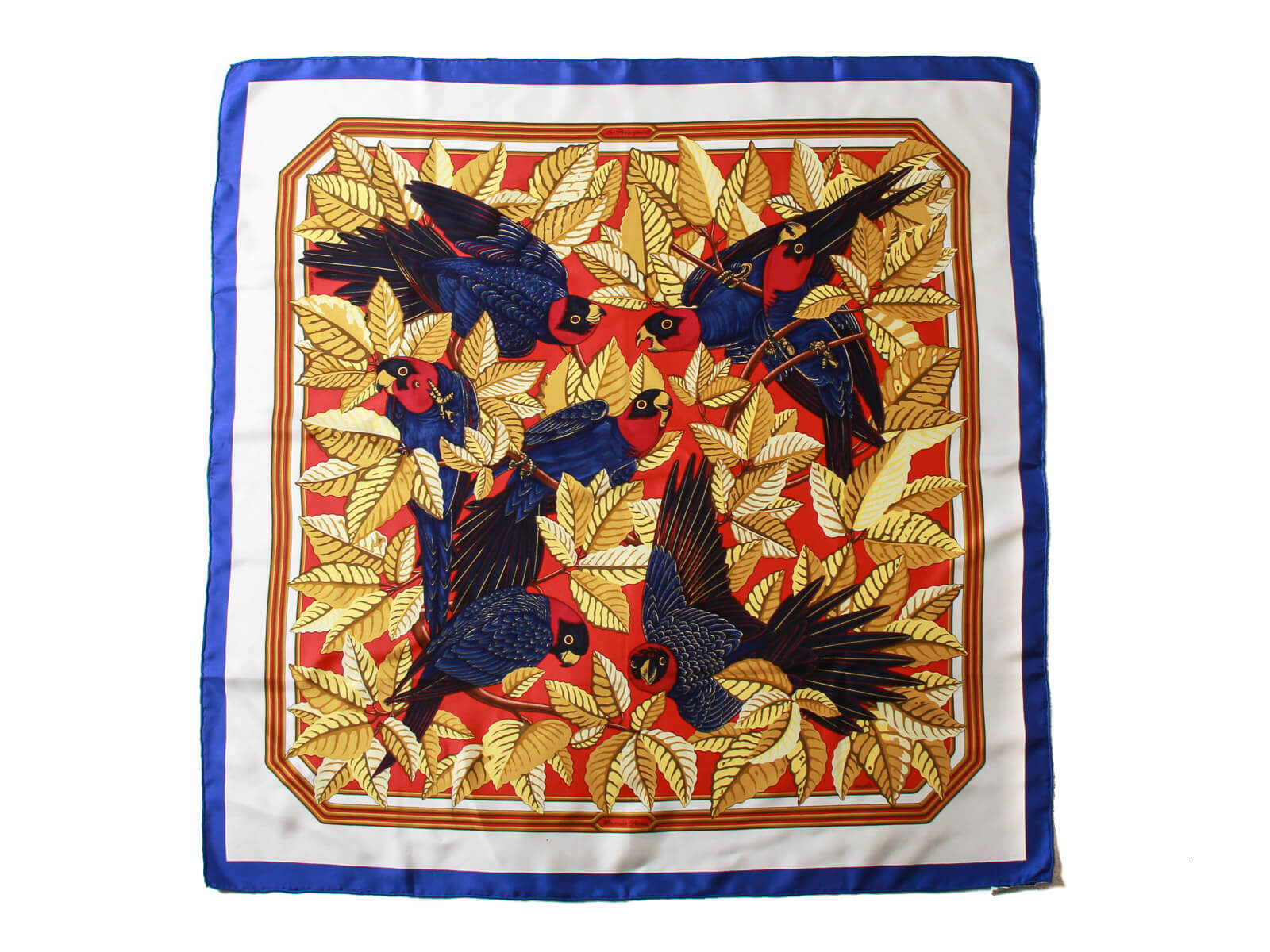 Authentic Hermes Multi-Color Les Perroquets Silk Scarf