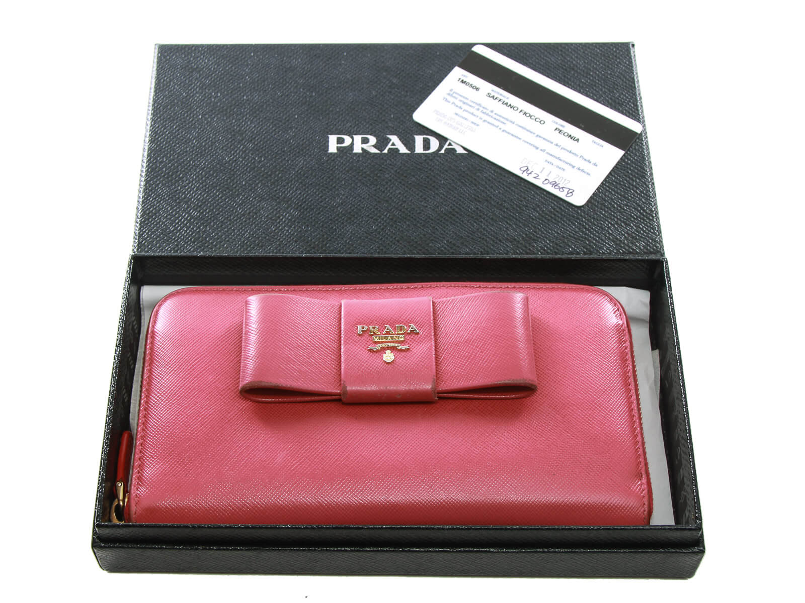 Authentic Prada Saffiano pink leather ribbon zip around wallet