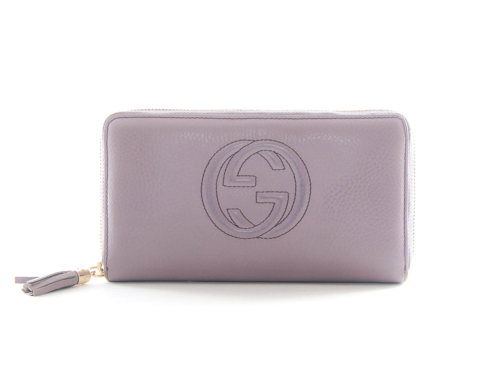 b175abfd885 Authentic Gucci GG logo Soho lavender leather zip around wallet. Tap to  expand