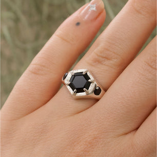 Ready To Ship ✦ Imperial Hexagon Signet Ring - Black Sapphire and Spinel (Silver UK N1/2 - US 6 3/4)