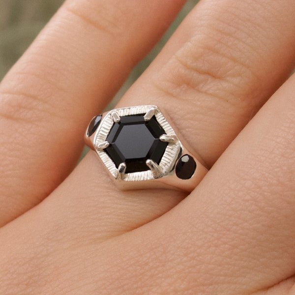 Imperial Hexagon Signet Ring - Black Sapphire and Spinel (Silver, Yellow, White or Rose Gold)
