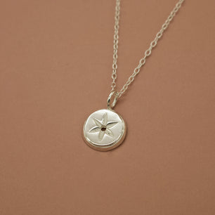 'Nox' 6 Point Star Engraved Coin Necklace (Silver, Yellow/Rose/White Vermeil or Solid Gold) - Necklace The Serpents Club
