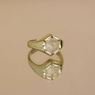 Hexagon Signet Ring - Gold Rutile Quartz (Brass, Silver, Yellow, White or Rose Gold)