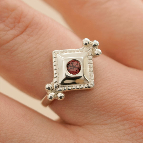 'Ivar II' Garnet Rhombus Cluster Ring (Silver or Rose/Yellow/White Gold) - Ring The Serpents Club