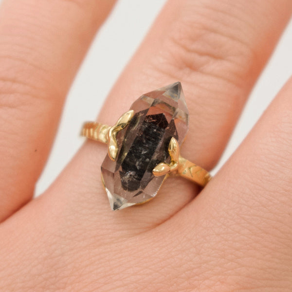 Ready To Ship ✦ 'Tybalt' Leaf Held Phantom Quartz with Chevron Band Ring (Brass. UK M/US 6.5) - Ring The Serpents Club