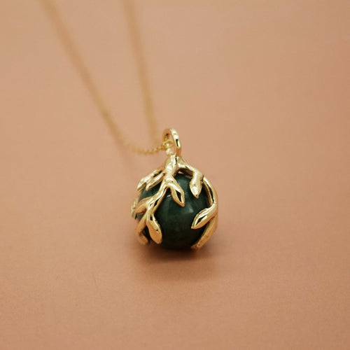'Zeme IIl' - Green Agate Orb and Vine Necklace (Silver or Gold) - Necklace The Serpents Club
