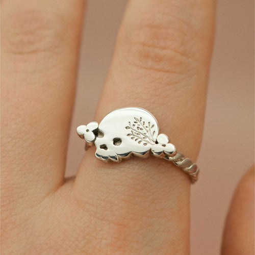 'Mania' Skull & Floral Wreath Ring (Brass, Silver or Rose/Yellow/White Gold) - Ring The Serpents Club