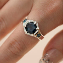 将图片加载到图库查看器,Imperial Hexagon Signet Ring - London Blue Topaz (Silver, Yellow, White or Rose Gold) - Ring The Serpents Club