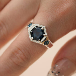 Imperial Hexagon Signet Ring - London Blue Topaz (Silver, Yellow, White or Rose Gold) - Ring The Serpents Club