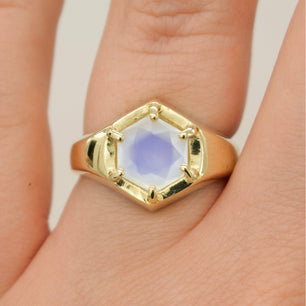 Ready To Ship ✦ Hexagon Signet Ring - Moonstone (Brass, Size UK 6/US L) - Ring The Serpents Club