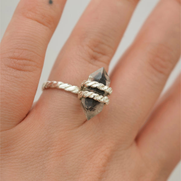 'Ulric' Rope Bound Phantom Quartz Ring (Silver, Yellow/Rose/White Vermeil or Solid Gold) - Ring The Serpents Club