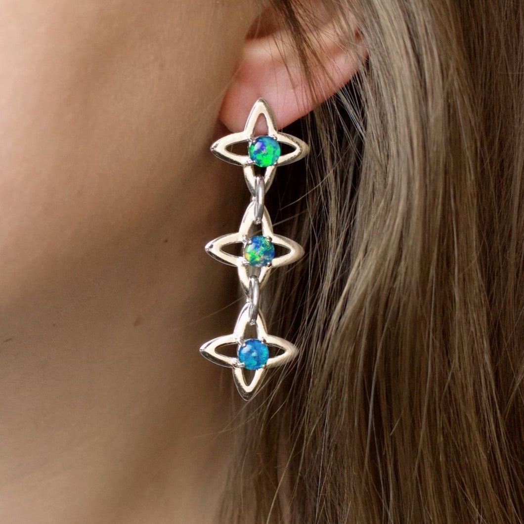 Star Chain Earrings - Opal (Silver or Rose/Yellow Gold Vermeil)