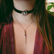Load image into Gallery viewer, Ready To Ship ✦ Midnight Imperial Dagger Necklace  - Silver with Black Diamonds & Sapphires - Necklace The Serpents Club