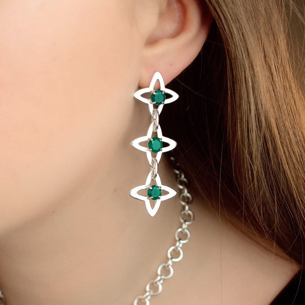 Starburst Chain Earrings - Green Agate (Silver or Rose/Yellow Gold Vermeil) - Earrings The Serpents Club