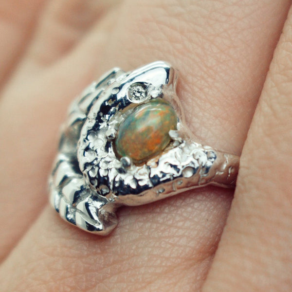 'Talbot' Opal, Palm Leaf and Diamond Eye Snake Ring (Silver or Yellow, Rose, White Gold) - Ring The Serpents Club