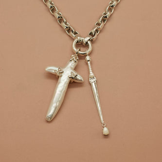 Ready To Ship 'Siren Sacrificial Dagger' Necklace in Pearl (Silver) - Necklace The Serpents Club