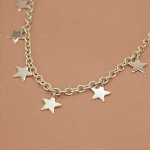 'Orion' Heavy Silver Link Chain with Stars (Silver or Yellow/Rose Gold) - Necklace The Serpents Club