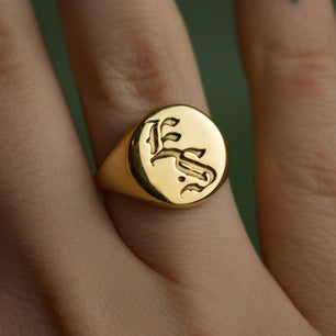 Web Exclusive ✦ Old English Engraved Signet (Custom Initial Letters) - Ring The Serpents Club