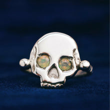 Charger l'image dans la galerie, 'Morte' Skull & Roman Bead Band Ring with Opal Eyes (Brass, Silver or Rose, Yellow or White Gold) - Ring The Serpents Club