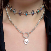 "Load image into Gallery viewer, One of a kind ✦ Medieval Star and Opal Link Choker Chain - Silver (14-16"")"