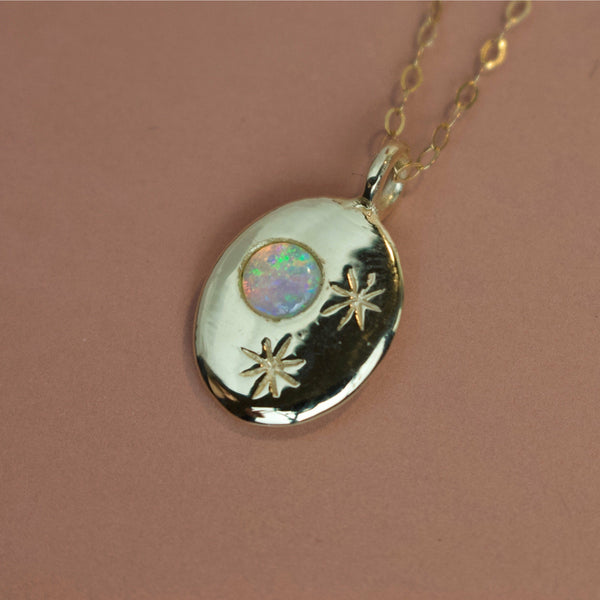 'Nyx' Opal Moon and Engraved Stars Coin Necklace (Silver or Yellow/White/Rose Gold Vermeil or Solid Gold) - Necklace The Serpents Club