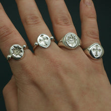 Load image into Gallery viewer, 'Sol' Sun Face Engraved Signet Ring (Brass, Silver or Rose, Yellow or White Gold) - Ring The Serpents Club