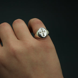 Cross Signet Ring - Brass, Silver or Gold - The Serpents Club
