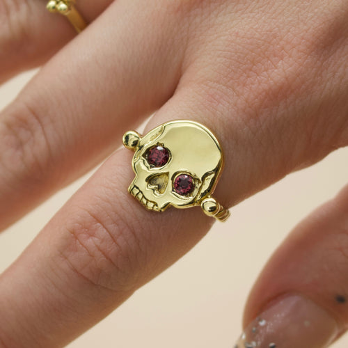 'Morte' Skull & Roman Bead Band Ring with Garnet Eyes (Brass, Silver or Rose, Yellow or White Gold) - Ring The Serpents Club