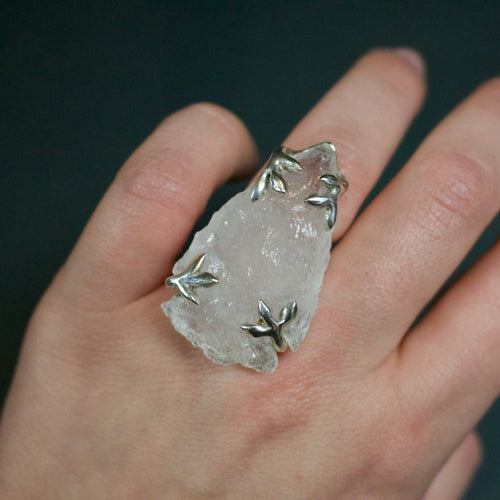 'Sorrel' Quartz Arrowhead Ring (Brass, Silver or Yellow, White, Rose Gold) - Ring The Serpents Club