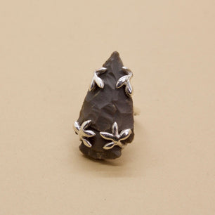 'Sorrel' Grey Agate Arrowhead Ring (Brass, Silver or Yellow, White, Rose Gold) - Ring The Serpents Club