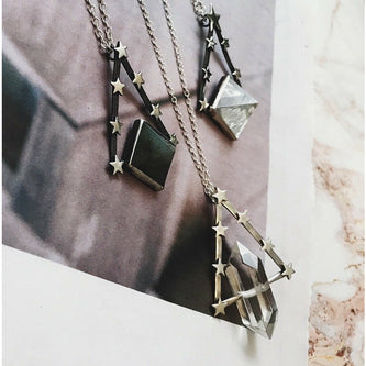 Quartz Pyramid & Star Pendulum Necklace - One Of A Kind - Necklace The Serpents Club