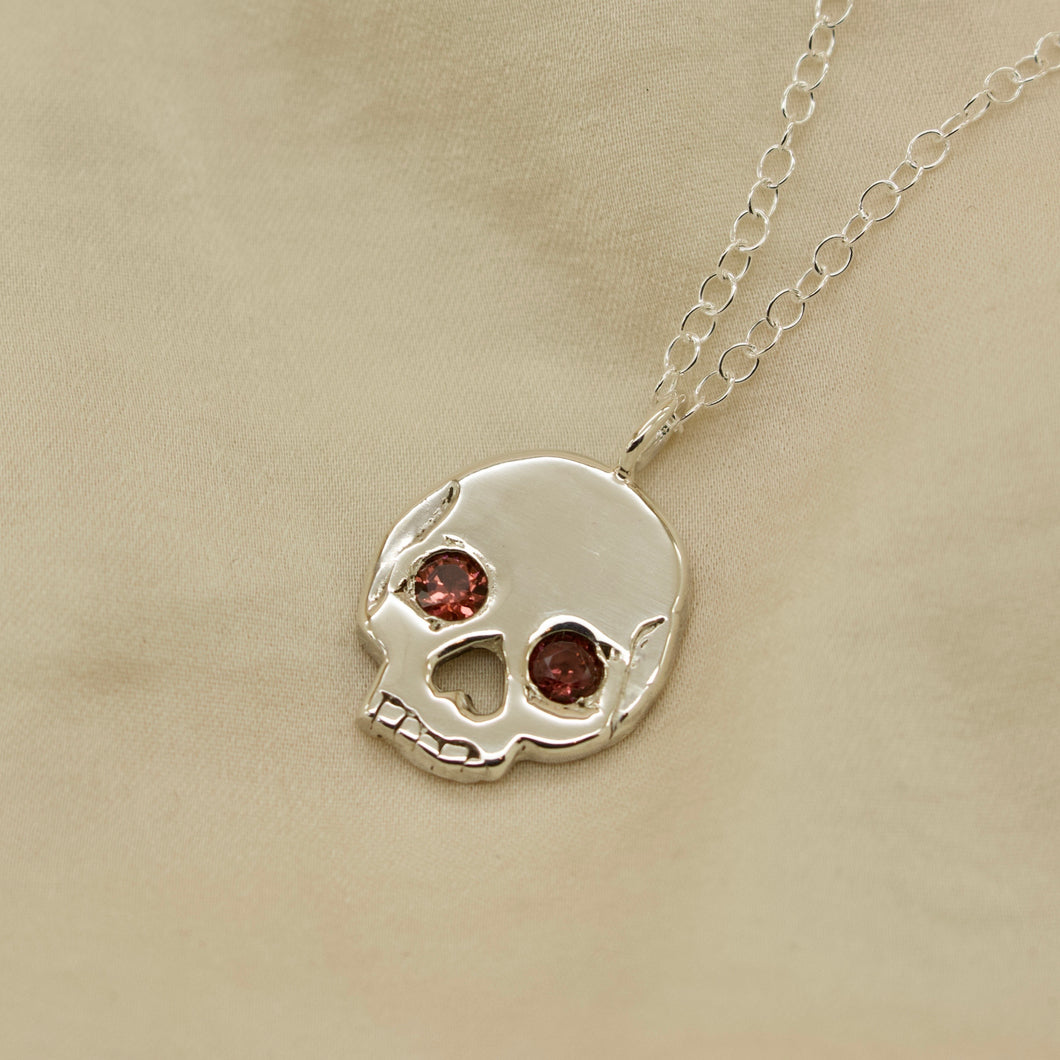 'Morte' Skull with Garnet Gemstone Eyes Necklace (Silver, 9ct Solid Gold or Rose/Yellow Gold Vermeil or Solid Gold)