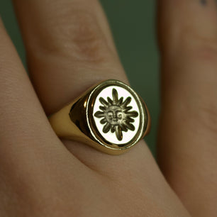 Ready To Ship ✦ 'Sol' Sun Face Engraved Signet Ring - Brass, Size US 6/ U.K M - Ring The Serpents Club
