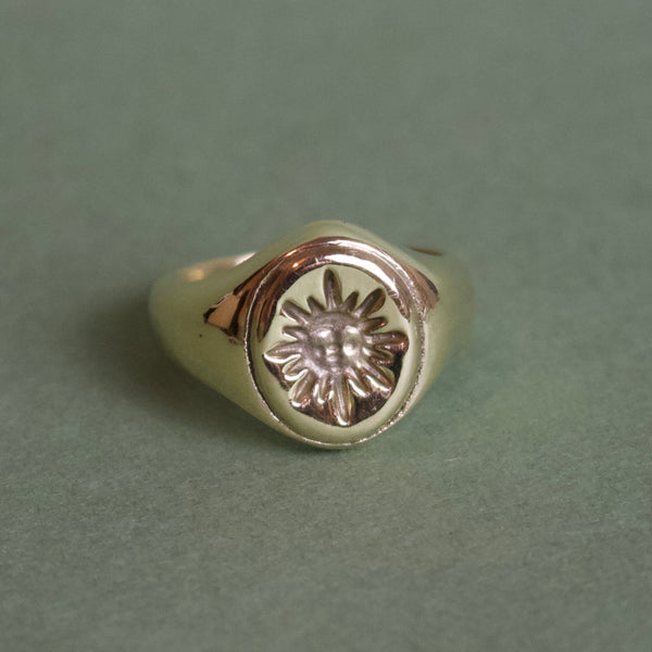 'Sol' Sun Face Engraved Signet Ring (Brass, Silver or Rose, Yellow or White Gold) - Ring The Serpents Club