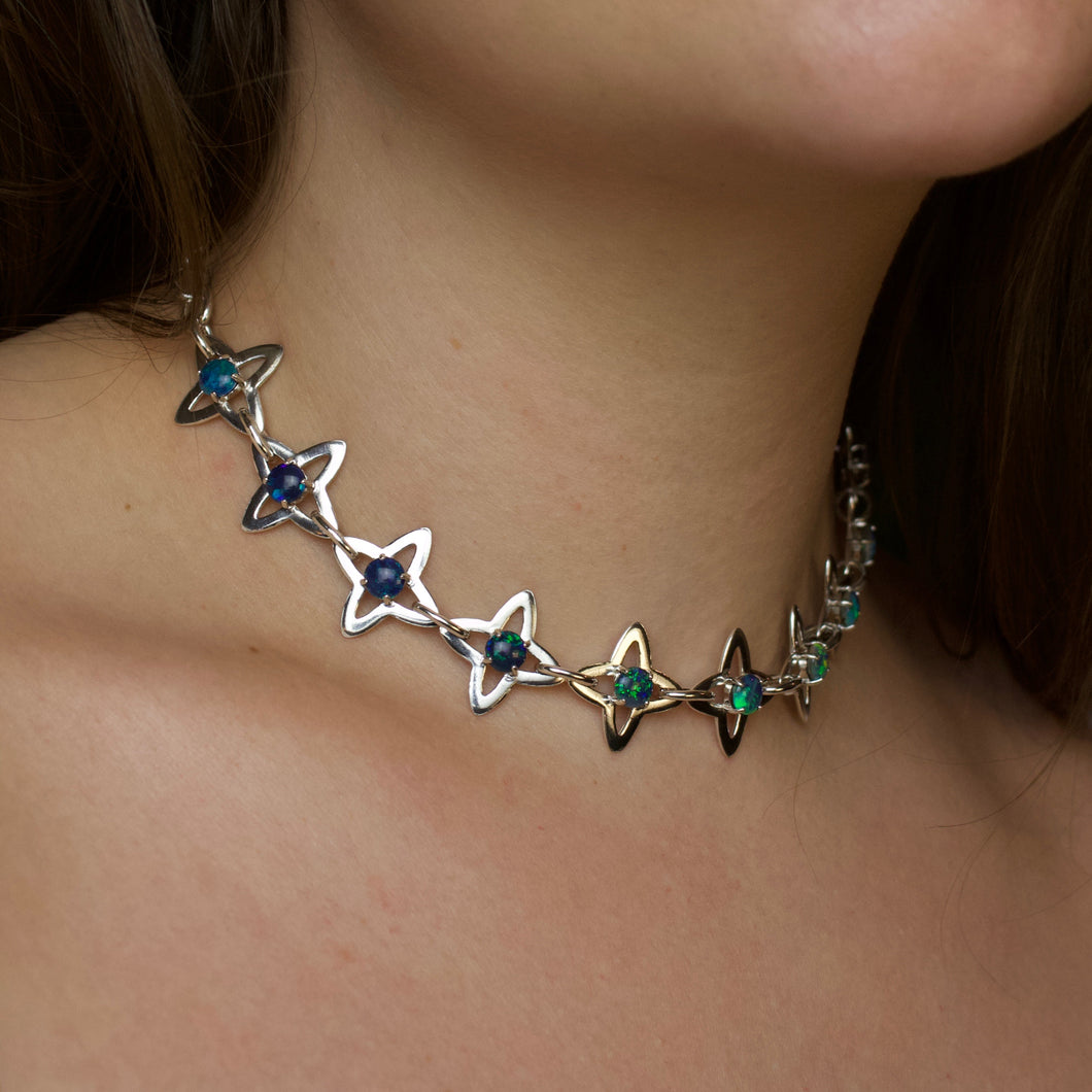 One of a kind ✦ Medieval Starburst and Opal Link Choker Chain - Silver (14-15